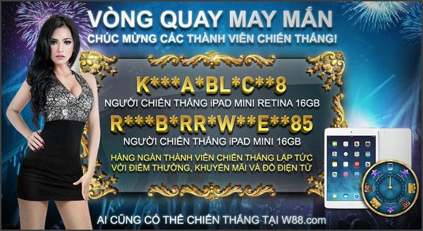 Người chơi W88 mỗi ngày đều được tặng một lần Vòng Quay May Mắn 100% có thưởng