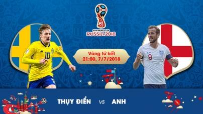 Soi kèo Thụy Điển vs Anh, 21h00 ngày 07/07, World Cup 2018
