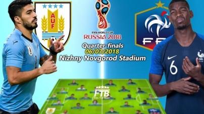 Soi kèo Uruguay vs Pháp , 21h00 ngày 06/07, World Cup 2018